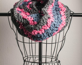 Cowl Infinity Scarf Thick Infinity Scarf, Blue, Grey and Pink, Ready to Ship