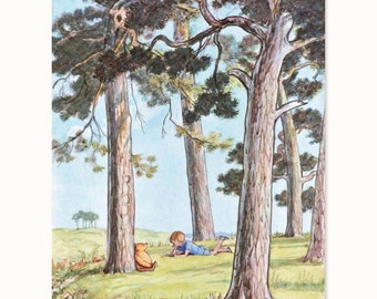 "Winnie the Pooh Art, Woodland Nursery (Boys Room Print, Girls Bedroom Decor, Classic Pooh Gifts) - Pooh Bear Artwork ""Resting in the Forest"""