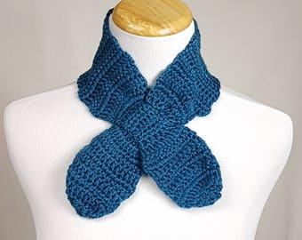 Blue Scarflette,Crochet Neck Scarf ,Blue Neckwarmer,Gift for Her,Clothing Gift for Her