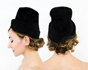 30s 40s Black Wool Felt & Jersey Tilt Hat | Dunlap N.Y.