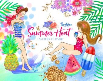 Gold Summer clipart Watercolor clipart beach clipart tropical clipart fashion clipart fashion girl clipart planner girl clipart pool clipart