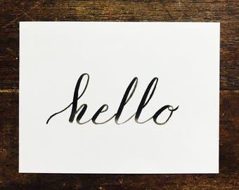 Hello Stationary, Greeting Card, Ink, Travel Stationary, Traveling, Postcard Custom Design