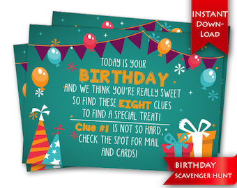 Birthday Scavenger Hunt | Birthday Game | Rhyming clues and blank template to add/edit your own clues {instant download}