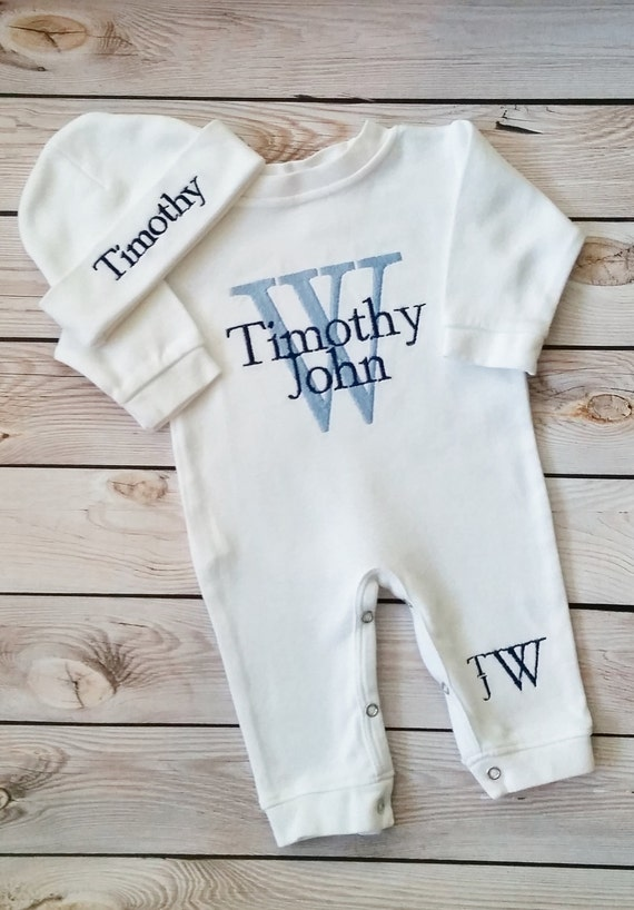 newborn boy outfit baby boy coming home outfit monogrammed