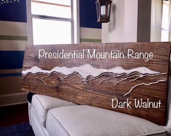 String Art Mountains of Presidential Range/White Custom Mountains String Art-Replica of Actual Mountains