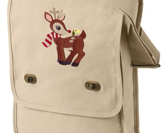 Retro Reindeer Embroidered Canvas Field Bag