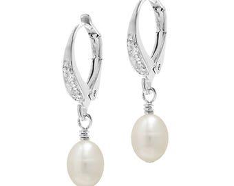 Crystal and Pearl Drop Earrings | Real Pearl Drop Earrings | Sterling Silver Earrings | Earrings with Lever Backs | Lever Back Earrings