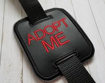 ADOPT ME - Dog Leash Slide - Dog Training / Socializing Messages - Basic Black and Red Style
