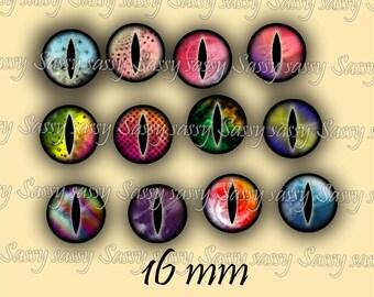 Dragon Eyes 16mm Set of 108 Circles on Collage Sheet