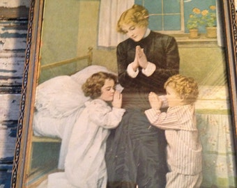 Beautiful Lithograph Vintage Picture Mother and Children Praying at Bedside 9x11 Framed
