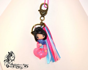 Chinese key ring with polymer clay