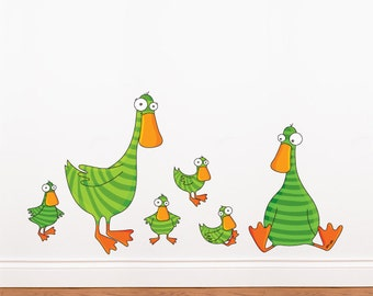 Ducks and Ducklings - Wall Decal - Color Print