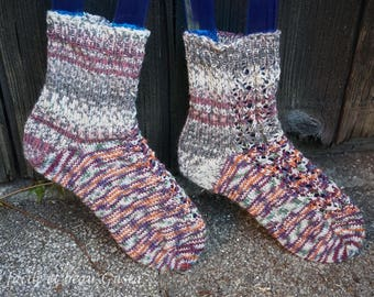 Lace Heart Socks in natur/rot