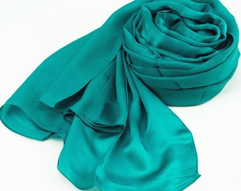 Dark Cyan Silk Scarf - Light Sea Green Silk Scarf - Dark Turquoise Silk Scarf - Silk Georgette Satin Scarf - AS255