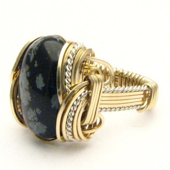 Handmade Wire Wrap Two Tone Sterling Silver/14kt Gold Filled Snowflake Agate Ring