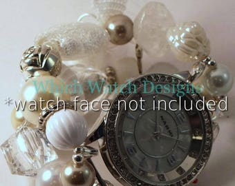 Pearls and Lace.. Stunning White, Cream and Beige Interchangeable Beaded Watch Band