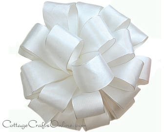 "Wired Ribbon, 1 1/2"" White Taffeta - FIFTEEN YARD ROLL - Offray ""Revogue White""  Wedding, Craft, Decor Wire Edged Ribbon"
