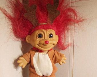 Russ Reindeer Troll Doll 1990s Christmas