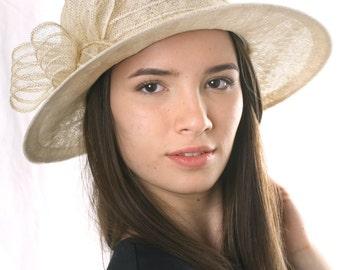 Romantic Cream Wide brim Lace Hat, Classic Lace hat, Wedding Lace Hat, Tea Party hat, Racing derby hat, Ascot hat, derby hat