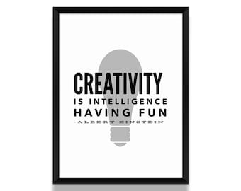 Albert Einstein Quote Poster, Albert Einstein Poster, Creativity Quote Poster, Creativity Wall Art, Typographic Poster, Wall Art