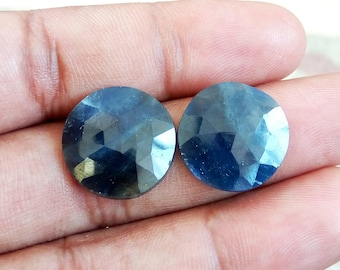 25cts Blue Sapphire 17mm Round Pair For Jewelry, Loose Gemstone, Blue Sapphire Pair Gemstone Cabochon, Sapphire Jewelry