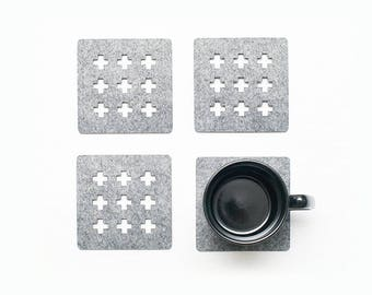 Drink Coasters / Square Coasters / Set of 4 Coasters / Felt Coasters / Scandinavian