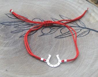 Horseshoe cord bracelet in sterling silver 925