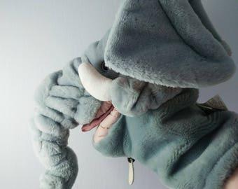 Trunkit éléphant gris en peluche marionnette peluche jouet Ganz Bros des années 1980 éléphant en peluche marionnette