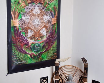 LIGHT WIZARD - Wall Hanging - Earth Dragon - Tapestry - Banner - Visionary Art - Photograph - Sublimation -Print - Spiritual - Art -Psy