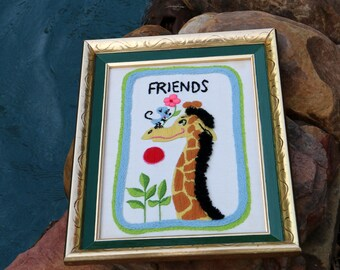 Giraffe Decor - Framed Childrens Stitchery Art - Framed Embroidery - Giraffe and Mouse Art - Friends Decor - Live in Moment Vintage