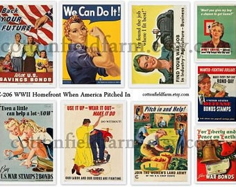 WW2 Homefront 1940s When America Pitched In Digital Collage C-206 WWII Poster Tags, Scrapbooking, Journaling