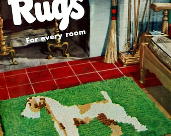 Vintage Rug PDF Crochet Braided Tufted Charts Floral Butterfly Swan Water Lily Terrier Lamb Alphabet Instant PDF Instant Download e Patterns