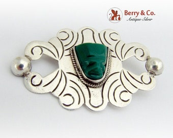 SaLe! sALe! Aztec Carved Green Agate Brooch Pin Sterling Silver Mexico