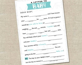 Mad-lib Baby Shower game // A Letter to BABY //  pink, blue, yellow, gray