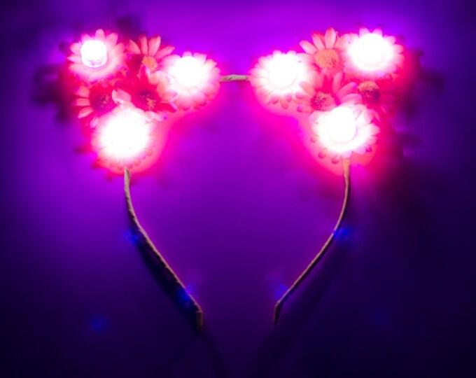 Customizable Pink LED Cat Ear Headband