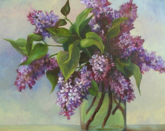 Lilacs, printed card
