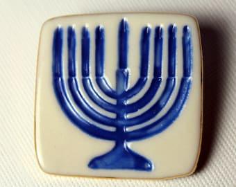 Hanukkah Menorah  Brooch Handmade Ceramic Porcelain Jewelry