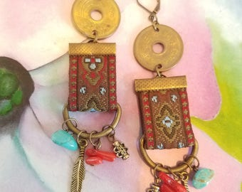 Repurposed Belt and Button Charm Earrings