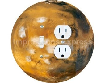 Planet Mars Space Toggle Switch and Duplex Outlet Double Plate Cover