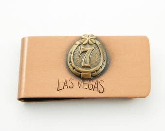 Copper Las Vegas Lucky 7 Money Clip - Vintage Money Clip