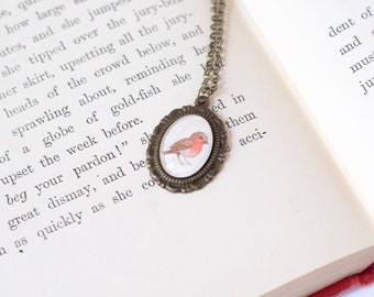 Tiny Robin Pendant - Miniature Painting Necklace