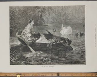 On the River by P. Rumpf 1874. Victorian Woman in a Boat near a Swan. Large Antique Engraving.