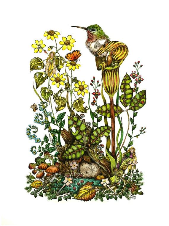 Fairy and Bird Art , Watercolor Painting Print , Fairy Fantasy Print -
