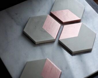 HEX Rose Gold Concrete Coasters