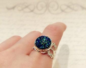 Titanium Blue Druzy Ring, Faux Druzy Ring