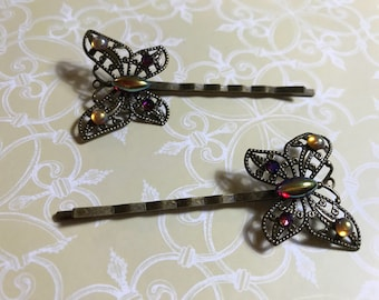 Red Butterfly Filigree Hair Pins