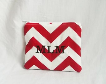 Small Make up bag - Personalized Chevron Pouch - Bridesmaid clutches - Small