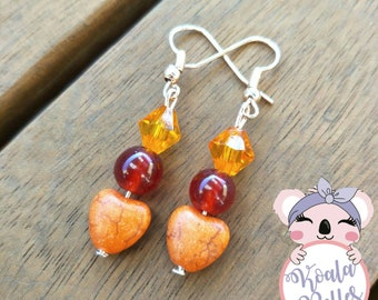 Handmade Red Agate Earrings