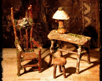 Faery writer's set, fae chair, writing table, lamp, and footstool, fae furniture, doll house furniture, rustic miniatures
