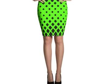 Black And Lime Diamond Pencil Skirt